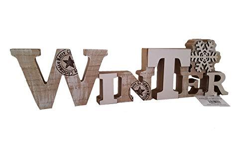 LB H&F Weihnachtsdeko Schriftzug Winter zum hinstellen Holz Natur Winterdeko Holzaufsteller (Winter)