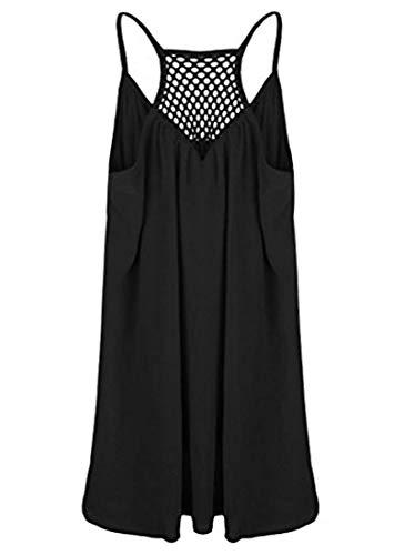 Avondii Vestido de gasa para mujer, largo hasta la rodilla, para playa, sin hombros, para verano, Negro , XXL