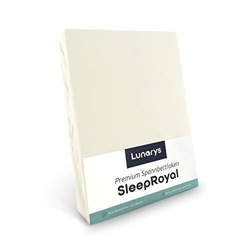 Lunarys® SleepRoyal Luxus Spannbettlaken 90x200 cm / schwere Qualität / 250 g/m² / 40 cm Steghöhe / für hohe Matratze, Boxspringbett & Wasserbett / hochwertiges blickdichtes Jersey-Spannbetttuch
