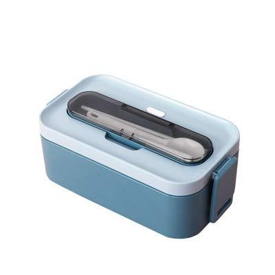 PPuujia Caja de almuerzo doble bento portátil para almacenamiento de alimentos al aire libre a prueba de fugas estilo japonés fiambrera con compartimento refrigerador (color: azul de una sola capa)