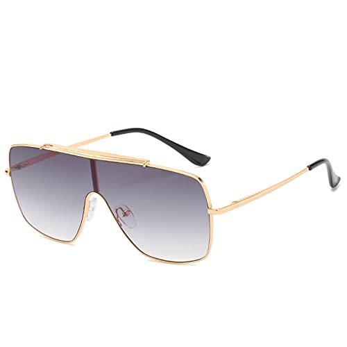 DAIDAICDK Gafas de Sol con Tapa Plana para Mujer Gafas de Sol Grandes cuadradas Gafas de Sol de aleación para Mujer Accesorios para Coche al Aire Libre