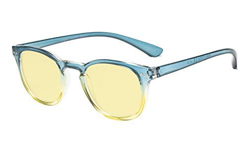 Eeyekepper Brillen mit Blaulichtfilter-Anti-Müdigkeit, Anti-Blaulicht, UV-Schutz Computergläser mit gelbem Glas Brillengläser (Blau-gelber Rahmen+1.00)
