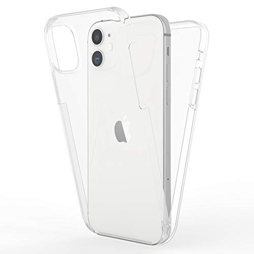 Kaliroo Cover 360 Grados Compatible con iPhone 12   iPhone 12 Pro Funda, Full-Body Case Proteccion Pantalla Trasera & Delantera Carcasa Rigida, Delgado Estuche Integral Cubierta Bumper - Transparente