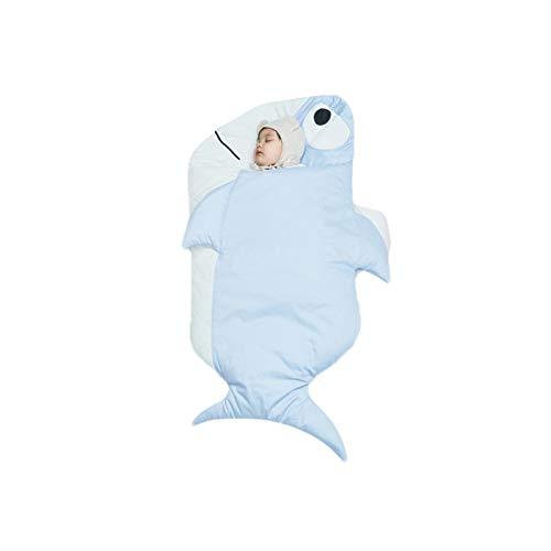Saco de Dormir para Bebé Manta Envolvente de Algodón en Forma de Pez para Recién Nacido Saco de Dormir Unisex de Invierno para Niños Pequeños (Azul Claro, 115cm)