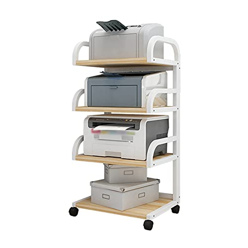 Soporte para ImpresoraOrganizador Soporte de escritorio para impresora, escritorio de 4 niveles Impresora multifunción Copiador de copiadora Estantería de estante, para hogar y oficina, blanco o negro