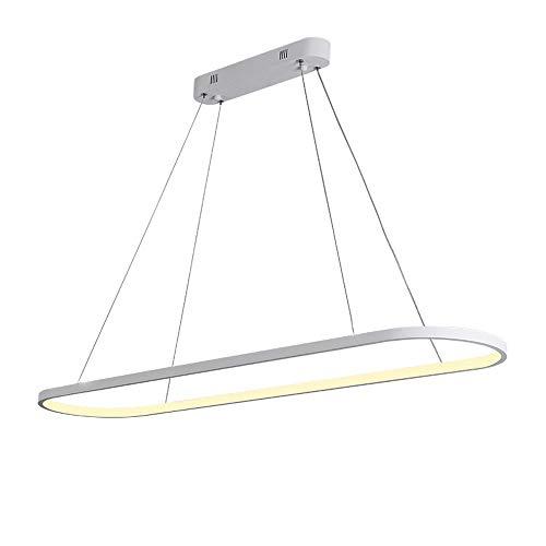 Dimmable LED Suspension Moderne Moderne Conception Rectangulaire Suspension Pendant Minimaliste Lustre pour Salon Salle À Manger Chambre Bureau avec Télécommande Fer Acrylique Lampe L90cm,White