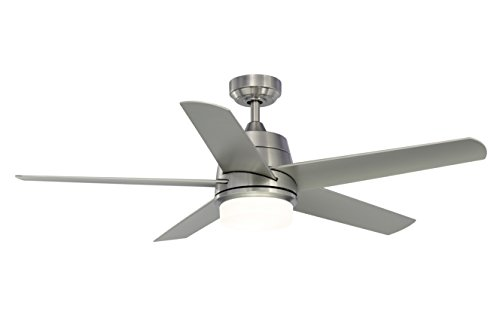 Fanimation Studio Collection LP8064BLBN Berlin Ceiling Fan with LED Light Kit, 52 Inch, Brushed Nickel with Gray Blades