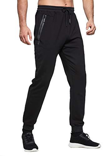 ZOXOZ Jogginghose Herren Baumwolle Sporthose Herren Trainingshose Männer Lang Fitness Hosen Herren mit Reißverschluss Taschen Schwarz 3XL