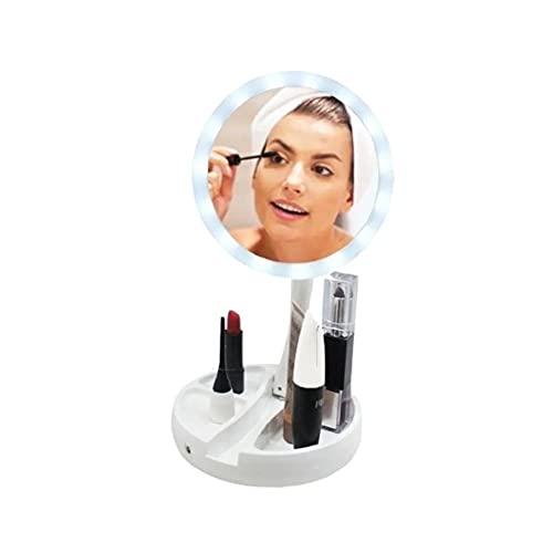Espelho para MAQUIAGEM Dobrável Dupla Face Aumento 10X com Luz LED e Organizador