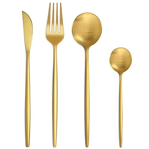 Bestdin Set di posate per 6 persone, 24 pezzi, in acciaio inox opaco, set di posate con coltello, forchetta, cucchiaio, posate in acciaio inox di alta qualità, lavabili in lavastoviglie.