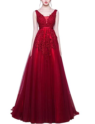 Romantic-Fashion Damen Ballkleid Abendkleid Brautkleid Lang Modell E001-E006 Blütenapplikationen...