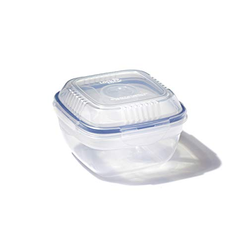 LocknLock Easy Essentials On The Go Meal Prep Lunch Box, Airtight Containers with Lid, BPA Free, Square-Salad w/Tray-32 oz, Clear