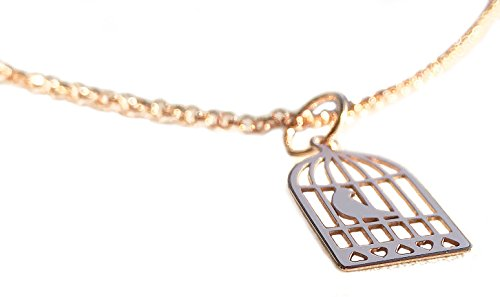Ah! Jewellery 18k Rose Gold over Sterling Silver New Bird Cage Pendant Necklace. Includes a 45cm Vermeil: Rose Gold over Sterling Silver Chain. Stamped 925.