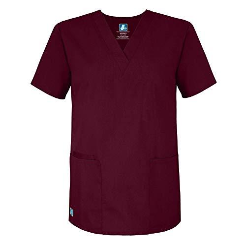 Adar Uniforms Medizinische Uniformen Unisex Top Krankenschwester Krankenhaus Berufskleidung - 2600 - Burgundy - S
