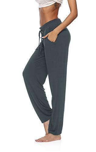 DIBAOLONG Womens Yoga Pants Wide Leg Comfy Drawstring Loose Straight Lounge Running Workout Legging Deep Gray L
