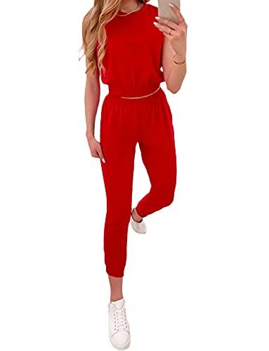 Loalirando 2 Pz Completo Sportivo Donna Ragazza Tuta Elegante Crop Top Corto Maglietta Senza Manica + Pantaloncini a Vita Alta Sportwear per Yoga Corso Casual Fitness (Rosso, M)