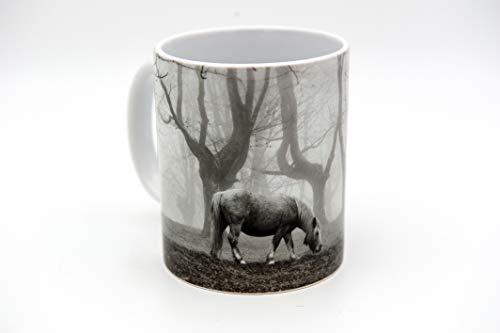 Taza de cerámica de 350 ml - Taza original - Fotografía en taza - Taza para el desayuno, te, cafe - Pájaros, mar, bosque, naturaleza (Caballo)