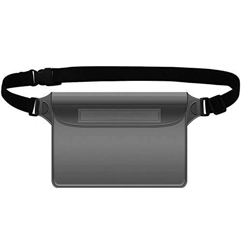 Duoying - Funda impermeable con correa ajustable para la cintura, PVC de tres capas para teléfono móvil, impermeable, pantalla transparente, para playa, natación, navegación, pesca, senderismo