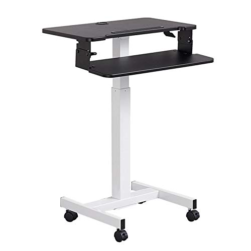 QYT-Home Height Adjustable Mobile Stand Up Desk Computer Table Laptop Desk Work Station, Study, Drafting, Art Craft Desk,Writing, Painting,Black