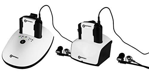 Geemarc 2 Hörer CL7350 DUO - verstärkter Funk-Fernsehkopfhörer mit Mikrofon und optischem Anschluß (bis zu 125 dB) - Ton- und Balanceregelung