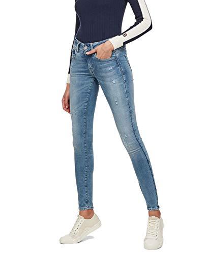 G-STAR RAW Damen Lynn D-mid Waist Super Skinny Jeans, Blau (lt aged destroy 9136-1243), 25W/L30