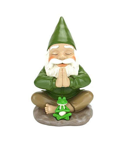 Zen Gnome and Zen Frog - Namaste– Tranquility and Peacefulness for Your Fairy Garden and Garden Gnomes by GlitZGlam. A Large 9¼ Inches Tall Miniature Gnome Figurine