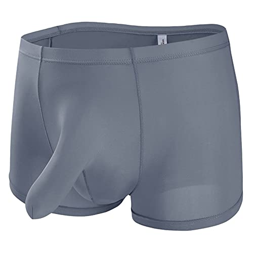 Herren Sexy Boxershorts Ausbuchtung Penishülle Unterhosen Männer Silky Closed Penis Sheath Boxer Komfortabel Elephant Bulge Unterwäsche Retro Briefs Panty (L,grau)