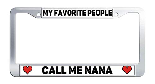 FukongCase Favorite People Call Me Nana Personalized License Plate Frames, Stainless Steel Heart Personalized Car Plate Covers with 2 Screws and Caps