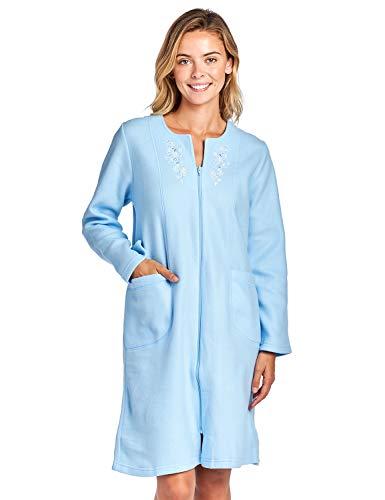 Casual Nights Women's Long Sleeve Zip Up Front Short Fleece Robe - Blue - XX-Large