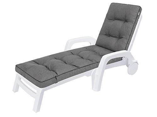 Auflagen für Deckchair, Liegenauflage, Gartenliege Auflage 201x55x8 cm Bequeme Polsterauflage für Sonnenliege, Liegestuhl, Kissen in Anthrazit