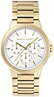 Rebecca Minkoff Women's Quartz Watch with Stainless Steel Strap, Gold, 20 (Model: 2200357)