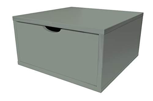 ABC MEUBLES - Cube de Rangement Bois 50x50 cm + tiroir - CUBE50T - Gris