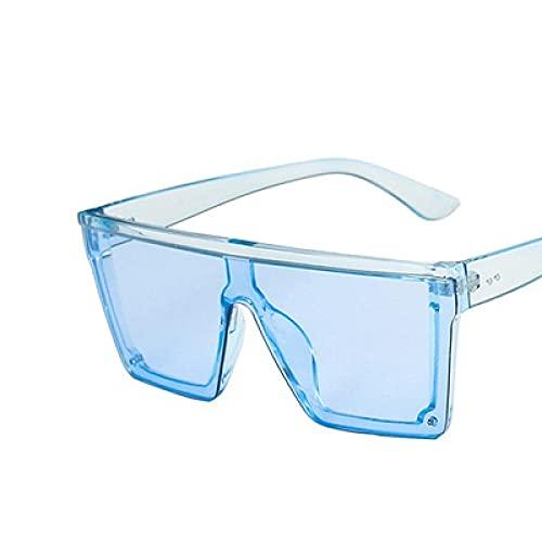 Moda Gafas De Sol De Gran Tamaño con Parte Superior Plana para Mujer, Sin Montura, Gafas De Sol para Mujer, Marca De Lujo, Gafas De Sol Cuadradas Vintage, Uv400, Espejo Azul Claro