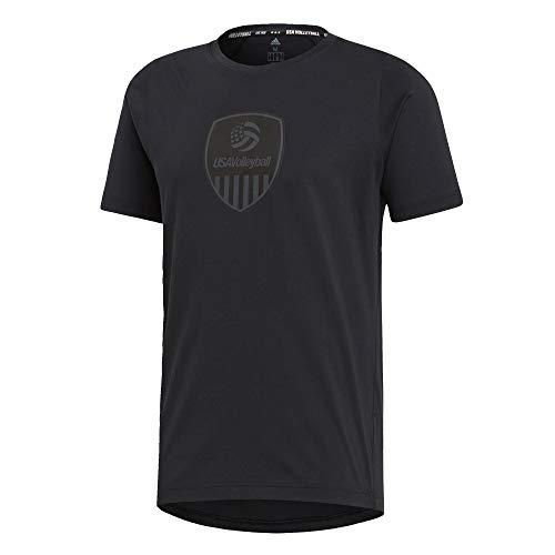 adidas USA Playera de Voleibol de Manga Corta para Hombre, USA Voleibol tee, Hombre, Color Negro/Carbon/Blanco, tamaño Large