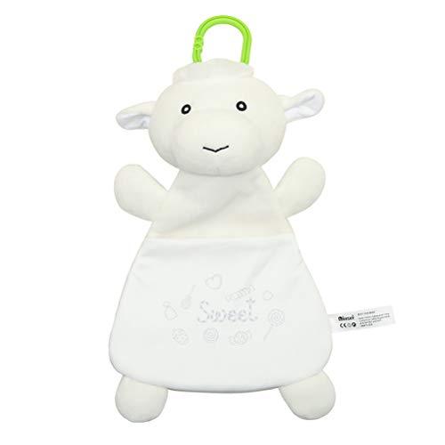 Toyvian Baby Sicherheitsdecke Schaf Weich Stofftier Plüsch Beruhigendes Spielzeug Schlaftuch Beruhigend Rasseln Spielzeug für Baby zu Hause Zimmer Weiß