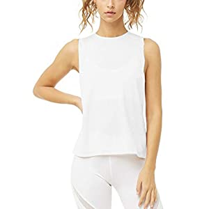 Bestisun Gym Yoga Clothes Sleeveless Athletic Tops Yoga Workout Tank Top Muscle Tank for Women Loose fit White S