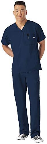 WonderWink W 123 Men's Medical Uniforms Scrub Set Bundle- 6355 V-Neck Scrub Top & 5355 Elastic Waist Cargo Pants & MS Badge Reel (Navy - X-Large/XL Short)