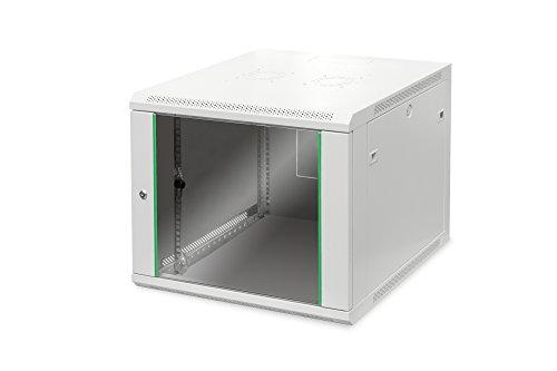 DIGITUS Netzwerk-Schrank 19 zoll 9 HE - Wandmontage - 600 mm Tiefe - Traglast 60 kg - Dynamic Basic - Glastür - Grau
