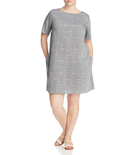 Eileen Fisher Womens Plus Nomadic Stripe Embroidered Casual Dress Gray 1X
