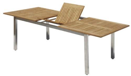MEINiShop Artus - Mesa de Comedor (Extensible, Acero Inoxidable y Teca, 160-210 x 100 cm)