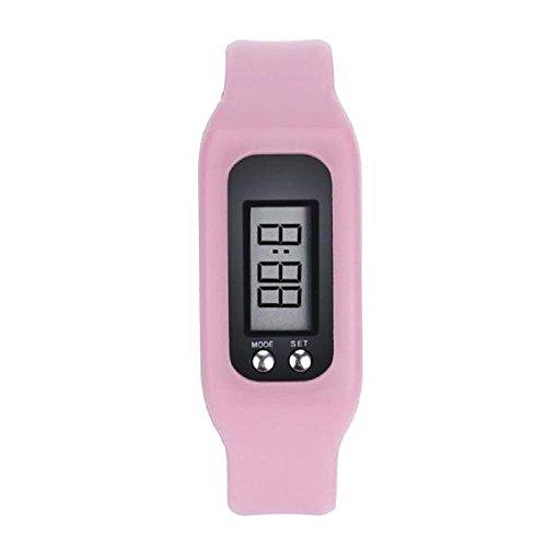 Covermason Unisex LCD Digital Podómetro Caloría Mostrador Relojes Pulsera Rosado