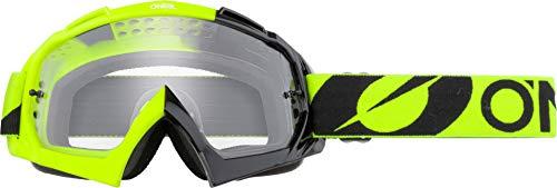 O'NEAL | Fahrrad-Brille Motocross-Brille | MX MTB DH FR Downhill Freeride | Hochwertige 1,2 mm-3D-Linse für ultimative Klarheit, UV-Schutz | B-10 Goggle | Unisex | Neon-Gelb Clear | One Size