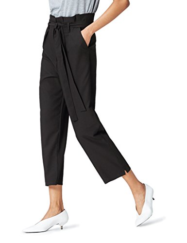 Amazon-Marke: find. Check Paperbag Waist Hose, Schwarz, 40, Label: L