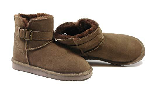 SUPER s6x Lammfell Stiefel kurz Schaft Damen Stiefel Australisches Lammfell, Lammfell Short Boots braun mit braunen Lammfell, Rutschfeste Gummi Sohle,