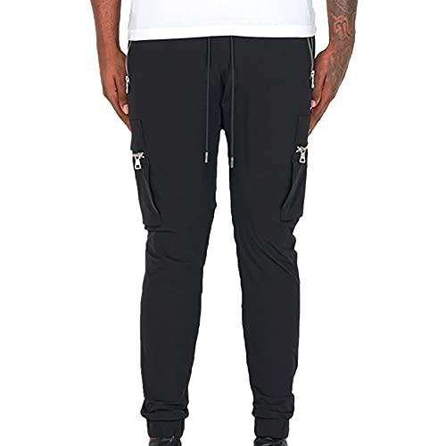 AOCRD Pantalones de chándal para hombre, pantalones de chándal sueltos, largos, deportivos, transpirables, pantalones de chándal, para correr, gimnasio, fitness, etc., Negro , M