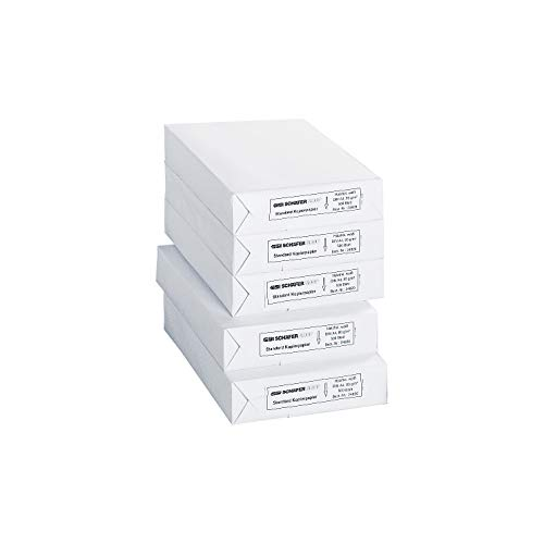 SCHÄFER SHOP Kopierpapier A4 – 80g/m² Papier - Druckerpapier Laserpapier Inkjetpapier Faxpapier - 2500 Blatt, weiß