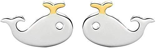 ZHJBD Fine Jewelry/Damesoorbellen S925 Zilver Schattige geschiedenis van de walal dier 6 x 9,2 mm