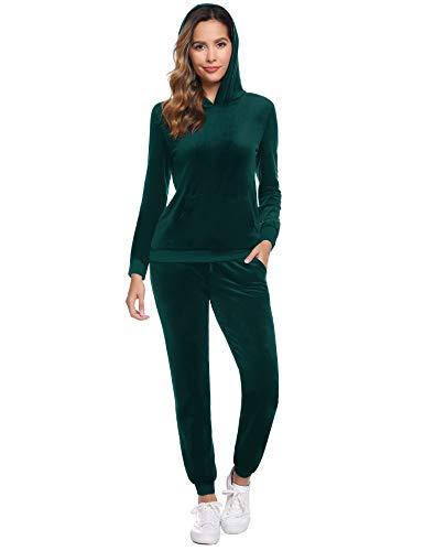 Abollria Damen Velours Traingingsanzug Nicki Jogginganzug mit Taschen Relax Flauschig Zweiteiler Set Hoodie+Sporthose