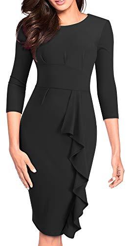 HOMEYEE Women's 3/4 Sleeve Ruffle Church Bodycon Wear to Work Dress B477