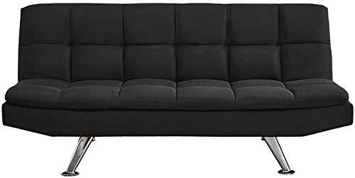 EYDSHIKL Moderno sofá de Tres plazas de Tela Cama con Cromo reclinable tapizado pies,Black